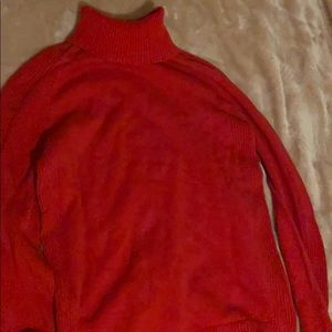 Red polo jean turtleneck